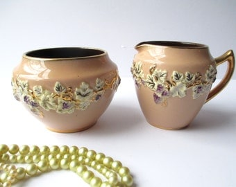 Vintage Cream and Sugar Set Gibsons Staffordshire Peach Gold Ivy