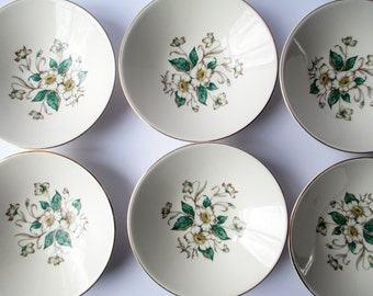 Vintage Knowles Sharon Magnolia Berry Bowls Set of Six - Cottage Chic