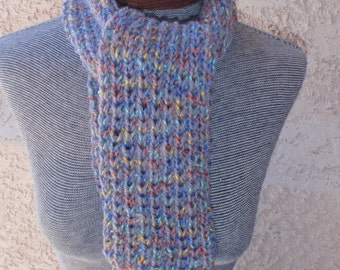 Multi-color scarf/hand-knitted scarf/knitted scarf/colorful scarf/gray scarf/bright/designer yarn/women/winter/college/stocking stuffer/gift