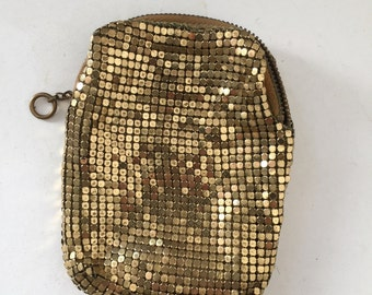 1940s gold mesh evening cigarette holder or money holder