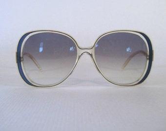 MOD 1980s vintage oversized Sunglasses - Les Belles de Paris - dark periwinkle, made in France