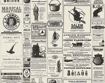 25% OFF Lost & Found Halloween Newsprint Cream - 1/2 Yard