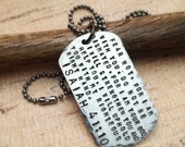 Handstamped Scripture Necklace, Isaiah 41:10, Bible Quote Jewelry, Bible Verse Necklace, Religious Necklace, Faith Necklace, Dog Tag Jewelry
