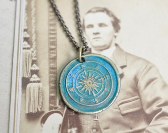 compass wax seal necklace - patina compass pendant … adventure, direction, guidance - brass with patina nautical wax seal jewelry