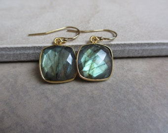 Green Labradorite Earrings, Gold Earrings, Square, Small, Modern, Minimalist, Everyday Earrings, Irisjewelrydesign
