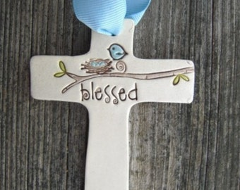 bluebird ceramic cross, clay cross, baptism gift, christening keepsake, first holy communion, 1st communion, religious gift, ceramic cross