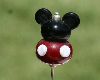 HUGE SALE Plump Mickey Mouse Style Stick Pin Disney Inspired DeSIGNeR Sra Lampwork Disneyland Magic Perfect Scarf Blazer Accessory