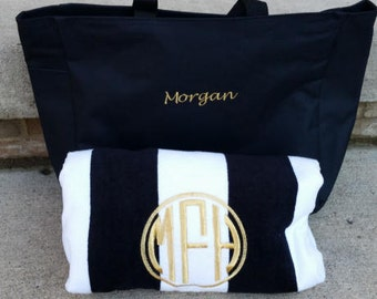 Tote & Towel Set, Monogrammed Beach Towels, Personalized Towels, Embroidered Pool Towels, , Beach Gift Set, Personalized Gifts