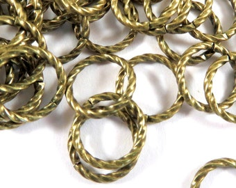 50 - 10mm Gold Twisted Jump Ring 10mm Antique Gold Plated Brass Fancy 16 gauge 10mm Outside - 50 pc - 3496