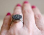 SALES . Onyx ring. Sterling silver ring with natural drusy Onyx. Druzy Onyx, Druzy ring, druzy jewelry, Black gemstone, black druzy.