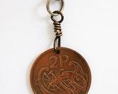 Coin Key Ring Ireland Irish Harp 1988 2 Pingins Backpack Charm Luggage Tag Keychain Purse Charm Zipper Pull by Hendywood