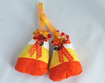 Pair of Candy Corn Plush Hanging Ornaments Halloween Decorations