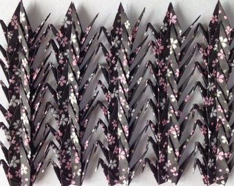 "40 Small Chiyogami Cranes - Sakura Pattern (Black), 3"" (7.5 cm) Japanese Chiyogami, Origami Paper Cranes, Black, Chiyogami Cranes, Handmade"
