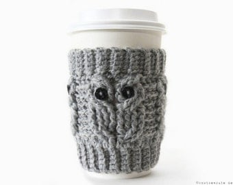 CROCHET PATTERN - Owl Love Coffee Cozy - Instant Download (PDF)