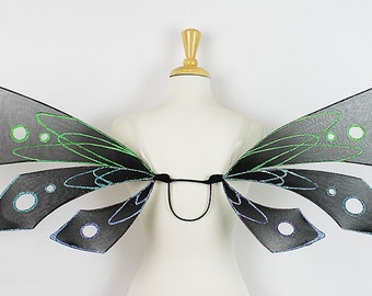 Sale 20% Off! Fairy wings, Black, Adult sized, Handmade, Perfect for costume, fairy photography, cosplay
