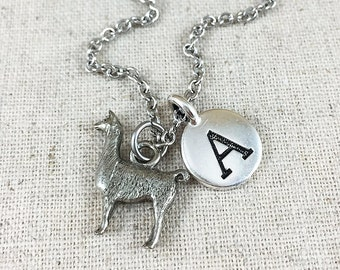 Lama Charm Necklace, Personalized Initial Jewelry, Silver Lama Charm Jewelry, Personalized Gift