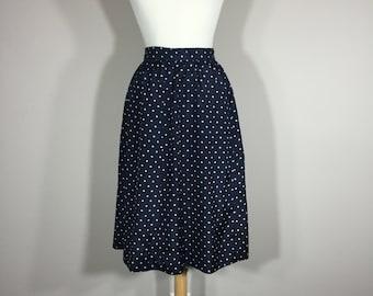 Vintage Villager skirt, 70s Navy Silk Polka dot  skirt, Sakowitz Navy Skirt, Polka-dot Skirt