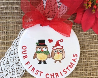 Our First Christmas Owl Couple - Newlywed Christmas Ornament, Personalized First Christmas Ornament, Our First Married Christmas