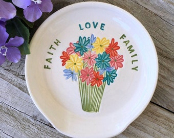 Large Spoon Rest with Multi-Colored Flower Bouquet, Faith Family and Friends