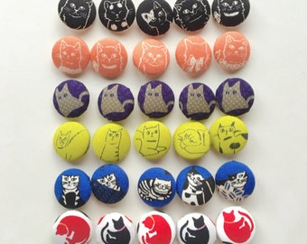 Set of 30 Fabric Buttons / Cat Print Fabric Covered Button