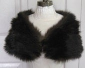 fur collar . fur shawl . fur cape . dark brown fur shawl . genuine fur