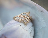Juniper Branch Ring |  Yellow Gold |  Gold Twig Ring | Rustic | Beach Wedding Ring | 10K Gold | Alternative Engagement Ring |  Boho