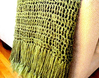 Throw Blanket  with Fringe- Olive Green Blanket, Afghan, Home Decor, Earth Tones Decor, Rustic Soft READY TO SHIP