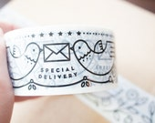 Printed Packaging Tapes - set of 2 / Decorative Tapes - Dove Special Delivery