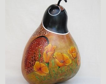 Gourd Quail with Poppies hand painted figure