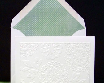 Set of Six Embossed Front Note Cards..Lined Envelopes...Green color Dot Liner standard A2 Envelope...Beautiful envelope glue on flap!