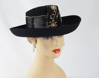 Black Sequinned Curled Brim Hat Sonni of San Francisco Sz 22 1/2