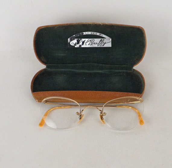 Rimless Glasses Old : Vintage Semi Rimless Eyeglasses 1/10 12kgf by alleycatsvintage