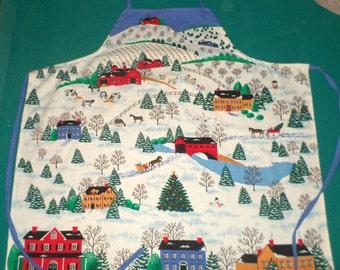 Winter Apron - Snowy Village Apron - Horses and Sleighs - Salt Box Houses - Country Village - Covered Bridge - Cotton Weave Apron