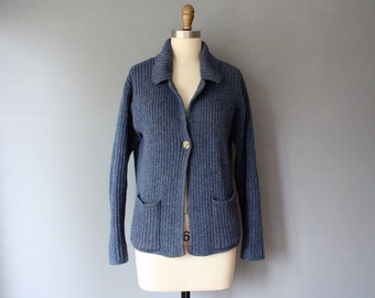 vintage wool cardigan / blue ribbed sweater / collar sweater / large