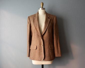 vintage tweed blazer / wool blazer / womens blazer/