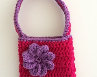 Flowered Purse, Crochet Purse, Magenta Flower Purse, Small Crochet Purse