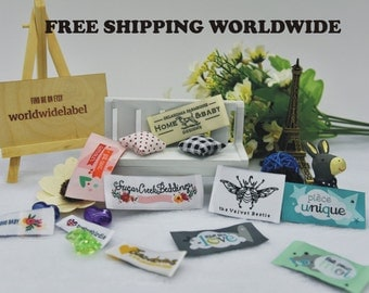 400 Custom Damask Woven Artwork Clothing Labels free font styles colors never fade - professional quality free design service and shipping