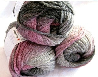 50% off - Boutique Midnight SHADOW  Wool blend yarn, worsted weight, grey pink metallic hints