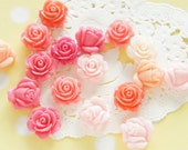 17 pcs  Matte and Glossy finished Flower and Rose Cabochons FL266 (((LAST)))
