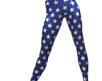 Super Hero Hot Yoga Fitness Legging Blue & Wite Stars Print Low Rise SXYfitness Brand Item 1251 Sizes xxs-xxl (00-18 US)