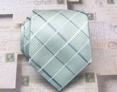 Mens Tie. Pastel Mint Green Gray Plaid Mens Necktie with Matching Pocket Square Option