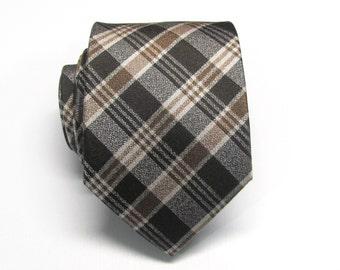 Mens Ties Necktie Brown and Rust Plaid Silk Tie