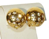 Vintage Swarovski Button Earrings Gold & Crystal Rhinestone Stars