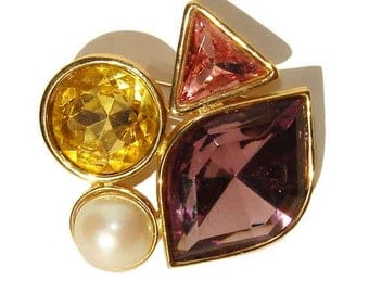 Vintage Richelieu Brooch Multi-Colored Crystal & Pearl Pin