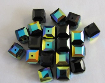 20 Wholesale 8mm Cube, Faceted Swarovski, Crystal, 5601, Jet AB, New Britz Beads Supply
