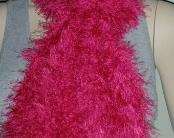 Raspberry Eyelash Crochet Scarf
