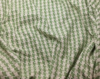 Light Green & Ivory HOUNDSTOOTH Cotton Suiting Fabric 1/4 yard remnant