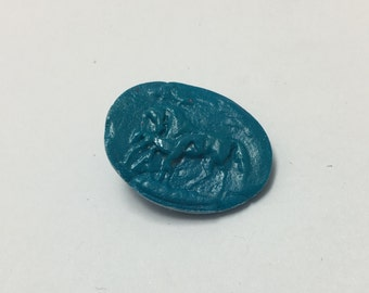 Mother & Foal Horse - Teal Blue - Hand Made Clay Button
