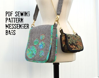 Messenger Bags Sewing Pattern including small saddle bag with fringe pattern