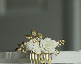 Bridal rose hair comb - ivory and gold - Made to order